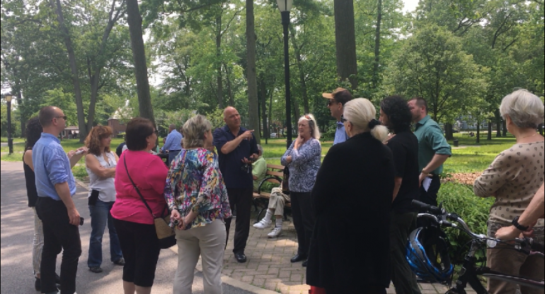 Paul Vallone Holds Public Forum At Bowne Park To Discuss Bocce Court Plaza Upgrades